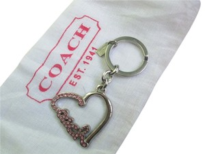 Coach Coach Script Pave Crystal Heart Pink Key Fob Key Chain Key Ring Charm with dust bag