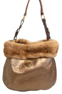 Prada Crocodile Mink Sheepskin Satchel Tote in Bronze