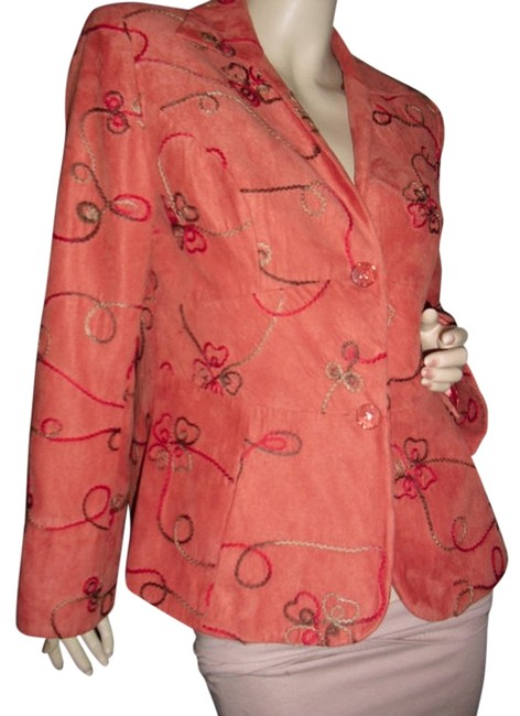 Item - Orangy Suede Unique Luxe Fabric Touch Embroidered Jacket @ Fashionista Style Boutique Blazer Size 8 (M)