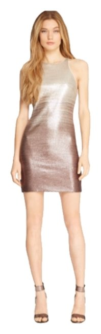 Item - Ivory Tan Dark Brown Sequins Ombre Pattern Short Night Out Dress Size 4 (S)