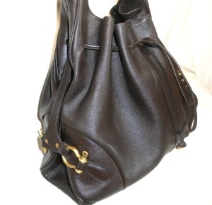 Burberry Chocolate Drawstring Leather Large Hobo Bag