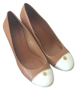 Tory Burch Tan Gold White Heel Leather Tan/Chestnut/White/Gold Wedges
