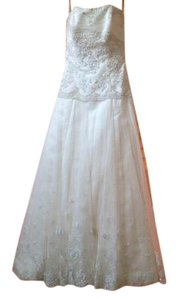Maggie Sottero Diamond White Beaded Tulle Bodice Satin with Tulle Overlay Viera Traditional Wedding Dress Size 8 (M)