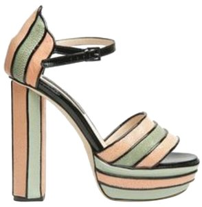Chrissie Morris Miami Art Deco Deco Modern Clean Lines Color Color-blocking Mermaid Stingray Shagreen teal, pink, blush, seafoam, black Platforms
