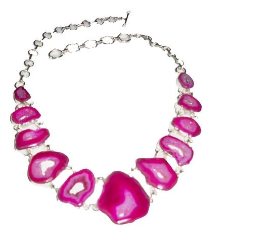 Preload https://img-static.tradesy.com/item/1202367/pink-silver-botswana-agate-slice-druzy-and-925-sterling-necklace-0-0-540-540.jpg