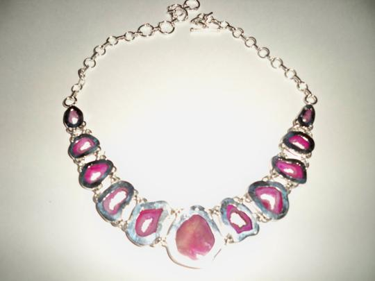 Other Botswana Agate Slice Druzy and .925 Sterling Silver Necklace Image 3