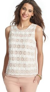 Ann Taylor LOFT Crochet Keyhole Sleeveless Date Night Summer Top Blush