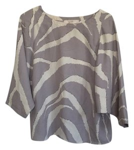 Ann Taylor LOFT Top Gray and Creme