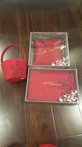 Wedding Red And Black Pillow Basket And Guest Book Set