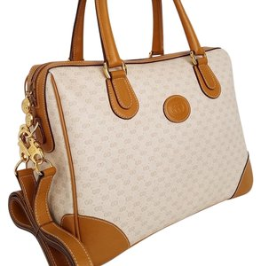 Gucci Vintage Monogram Satchel in Tan and beige