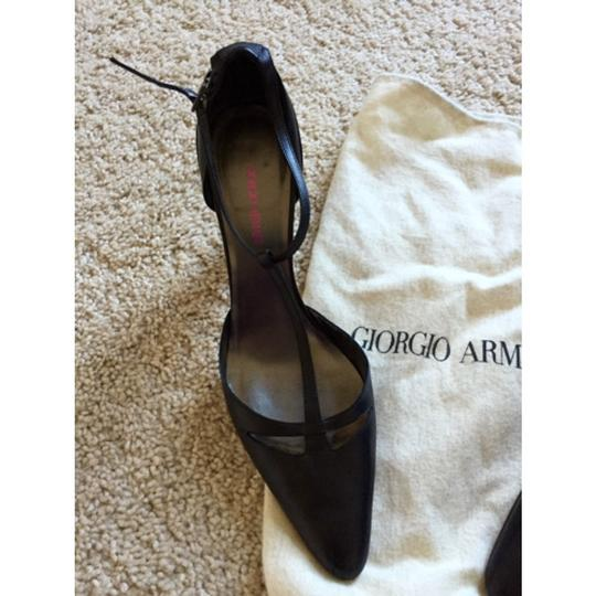 Giorgio Armani Black Heels T Strap Mary Jane Pumps