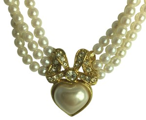 Bridal collection by Appealinglady Pearls With Pearl Heart And Rhinestones Necklace