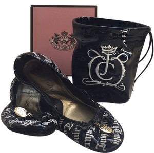 Juicy Couture Slippers Travel Black Patent Leather Flats