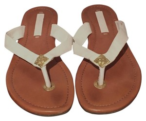 BCBGMAXAZRIA Bcbg Bcbg Leather Leather Flip Flops White Sandals