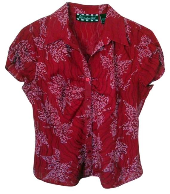 Red Sheer S/M. Blouse Size 6 (S) Red Sheer S/M. Blouse Size 6 (S) Image 1