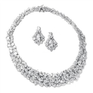 Highest Qulaity Aaa Cz Bridal Necklace And Earring Statement Set