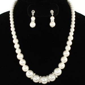 Pearl And Rhinestone Necklace And Earring Set