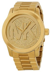 Michael Kors MK Logo Crystal Pave Dial Gold tone Oversized Designer Ladies Watch