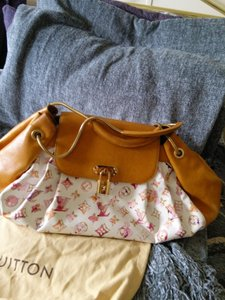 Louis Vuitton Richard Prince Watercolor Aquarelle Jamais Monogram Handbag Limited Edition Leather Satchel in Louis Vuitton Momogram bag tan & white with watercolor LV logo multi color