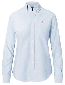 Ralph Lauren Classic Preppy Oxford Button Down Shirt Blue