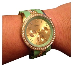 Geneva Geneva Mint & Gold watch with cz bezel