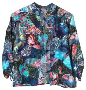 Chico's Butterflies Print Silk multi-color Jacket