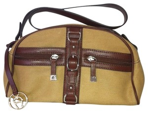 Etienne Aigner Canvas Leather Satchel in Brown