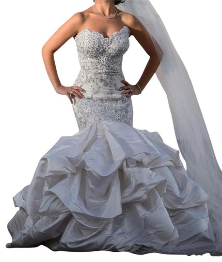 White/Off White Italian Lace And Satin Designer Gown