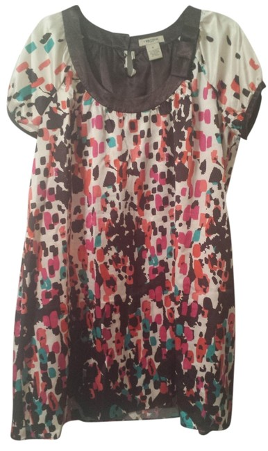 Item - Brown Multi Pattern Above Knee Short Casual Dress Size 14 (L)