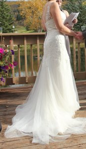 David's Bridal Illusion Neck Wedding Dress With Deep V Back - Mk3718 Wedding Dress