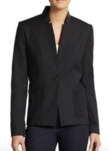 Elie Tahari Leather Zipper Black Blazer