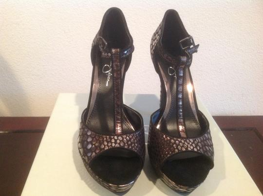 Jessica Simpson Gunmetal Black And Silver With T Strap Platforms