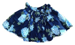Abercrombie & Fitch Floral Ruffle Bow Tie Print Mini Skirt Navy