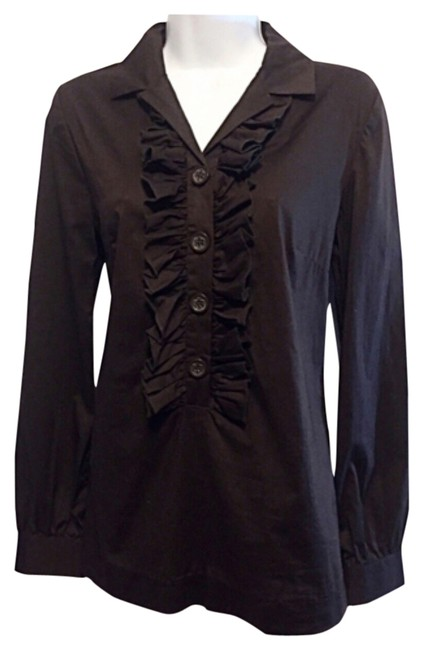 Item - Brown Ruffle Front Button-down Top Size 2 (XS)