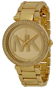 Michael Kors Gold tone MK Logo Dial Crystal Pave Bezel Ladies Designer Watch