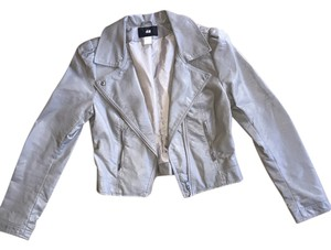 H&M Faux Leather Cropped Motorcycle Jacket