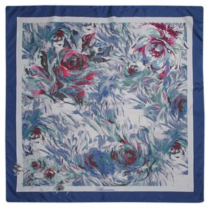 Blumarine Blumarine Blue Print Floral Silk Scarf New With Tags