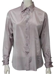Chanel Purple Silk Button Down Shirt Lavender