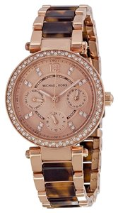 Michael Kors Tortoise Shell Rose Gold Crystal Pave Ladies Casual Watch