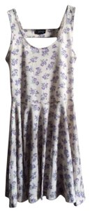 Topshop short dress purple, beige Floral Flowers Flower Cream Beige Neutral Summer Open Back on Tradesy