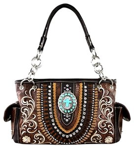 Montana West Boot Scroll Satchel in Brown