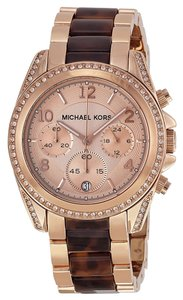 Michael Kors Rose Gold Tortoise Shell Crystal Pave Designer Casual Watch
