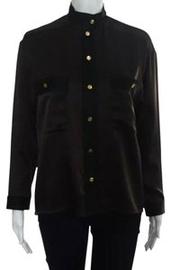 Chanel Mock Neck Button Down Designer Gold Buttons Formal Casual Long Sleeve Small Top Brown and Black
