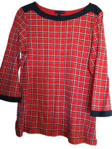 Tommy Hilfiger Plaid T Shirt red, navy and white check