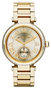 Michael Kors Gold tone Stainless Steel Crystal Embellished Ladies Galm Watch