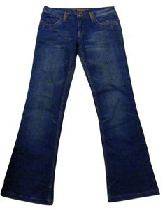 C'est Toi Premium Studded Contrast Stitching Low Rise Junior Size Boot Cut Jeans-Medium Wash