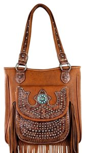 Montana West Leather Fringe Tote in Brown