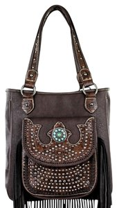 Montana West Leather Fringe Tote in Coffee