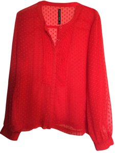 W118 by Walter Baker Polka Dot Sheer Top red