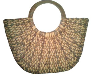 The Limited Round Wooden Handles Brown/Tan Beach Bag
